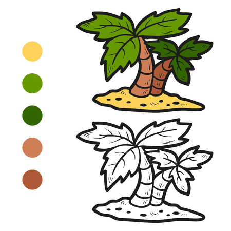 Coloring book (palms) Vector