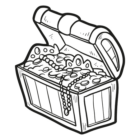 jewelry boxes: Coloring book (treasure) Illustration