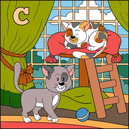 cat alphabet: Color alphabet for children: letter C (cat)