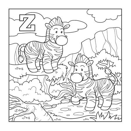 Coloring book (zebra), colorless alphabet for children: letter Z Vector