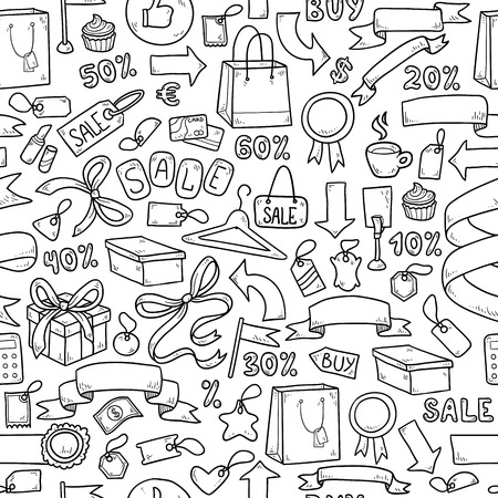 gift shop: Colorless vector pattern of shopping items Illustration