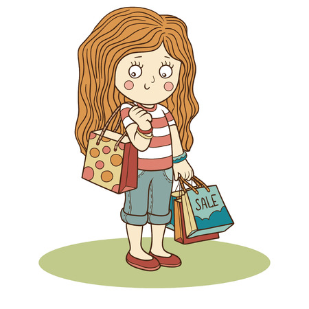 vector girl: Vector illustration: girl and shopping bags