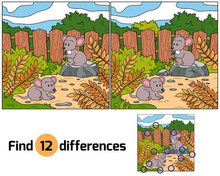 rata caricatura: Encuentra las diferencias (ratones)