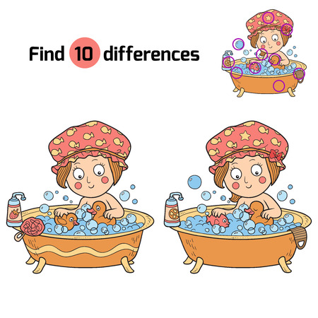 girls bathing: Find differences (little girl in the bathroom) Illustration