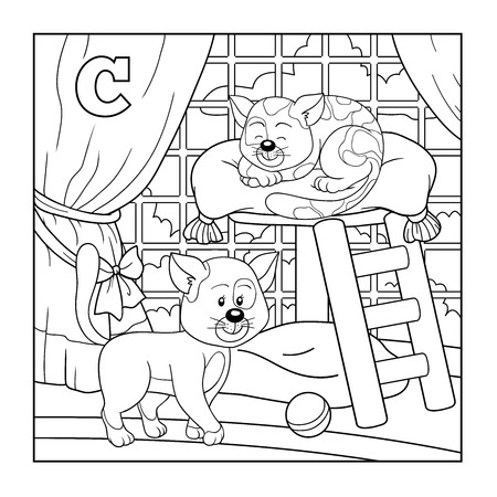 cat alphabet: Coloring book (cat), colorless alphabet for children: letter C
