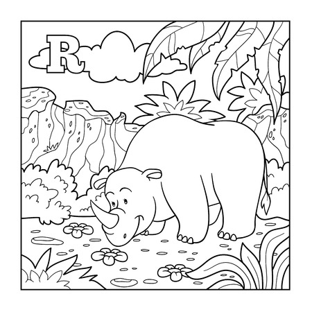 Coloring book (rhino), colorless alphabet for children: letter R Ilustracja