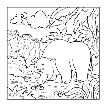 Coloring book (rhino), colorless alphabet for children: letter R Ilustração