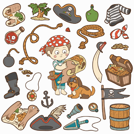 Vector set of pirate items, color cartoon collection, boy and dog playing pirates Vector