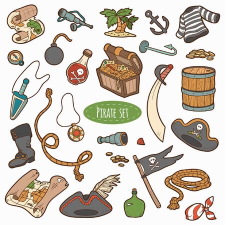 isla del tesoro: Vector conjunto de artículos piratas, colorida colección de dibujos animados