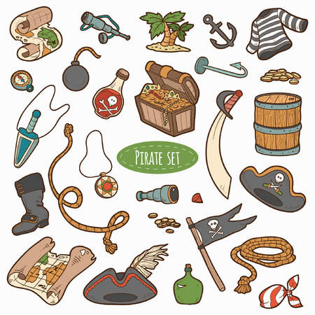cartoon hat: Vector set of pirate items, colorful cartoon collection