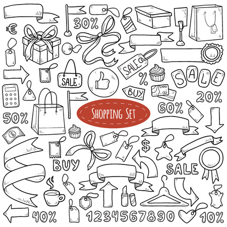 Vector set of shopping items, colorless cartoon collection Vector
