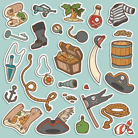 Vector set of pirate items, color stickers Vector