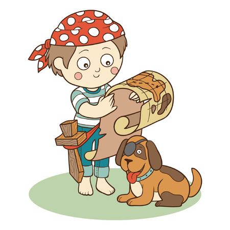 Vector illustration: boy and dog playing pirates Vector