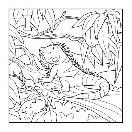 colorless: Coloring book (iguana), colorless illustration (letter I)
