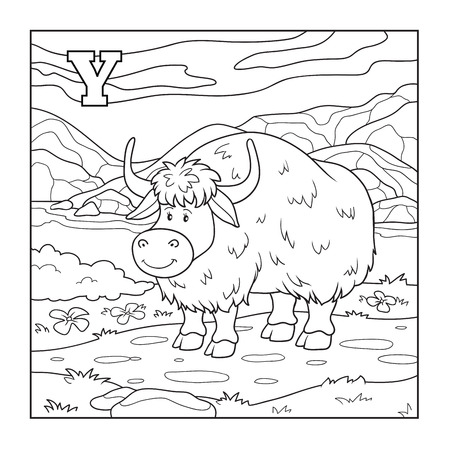 yak: Coloring book (yak), colorless illustration (letter Y)