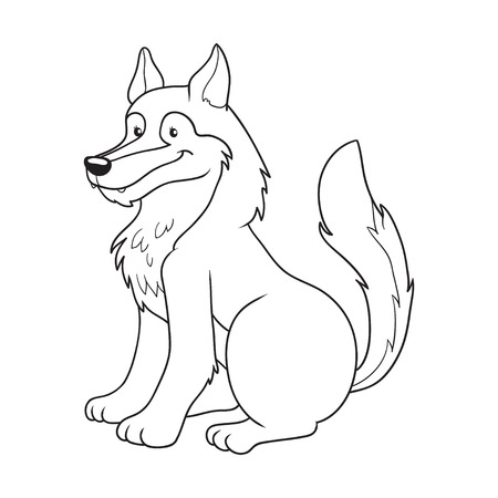 dog outline: Coloring book (wolf)