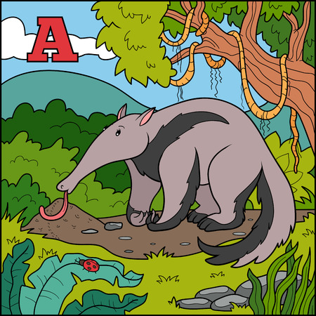 Color alphabet for children: letter A (anteater) Vector