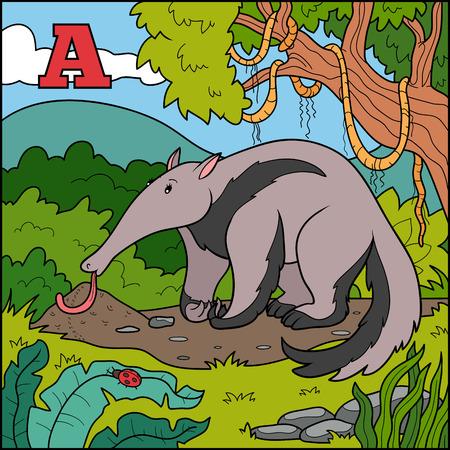 anthill: Color alphabet for children: letter A (anteater) Illustration