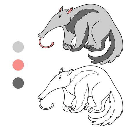 Coloring book (anteater) Vector