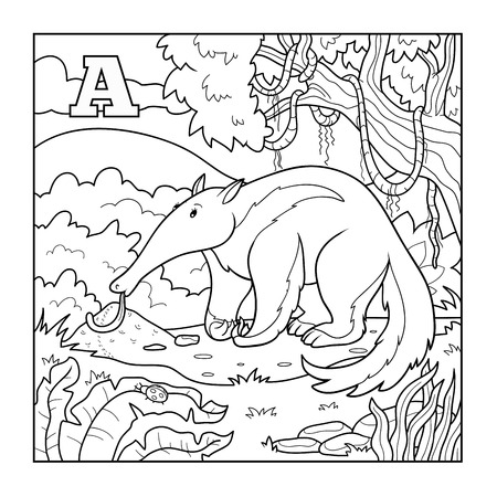 Coloring book (anteater), colorless illustration (letter A) Vector