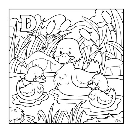 family on grass: Coloring book (duck), colorless illustration (letter D)