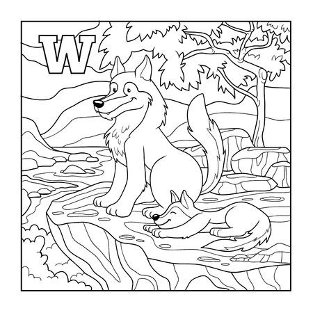 dog summer: Coloring book (wolf), colorless illustration (letter W) Illustration