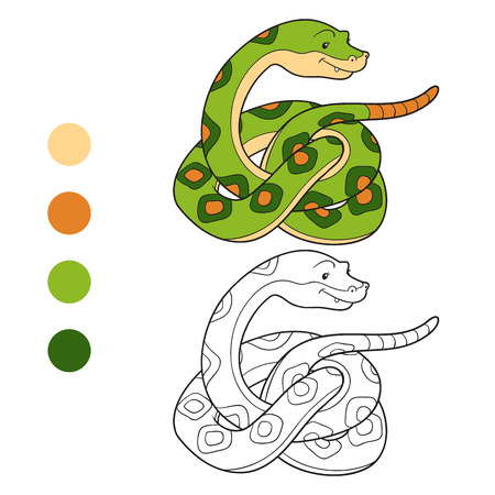 Serpiente Linda Aislada En El Fondo Blanco. Para Dar Color Y Otra De ...