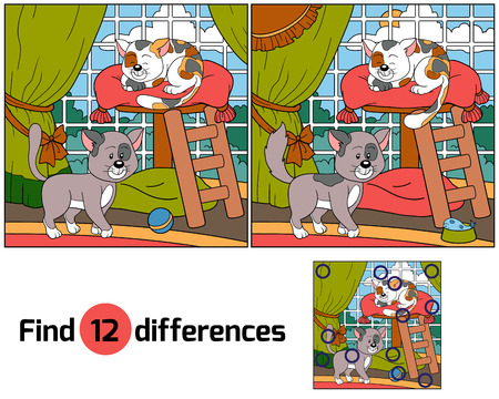 a small painting: Find differences (cats) Illustration