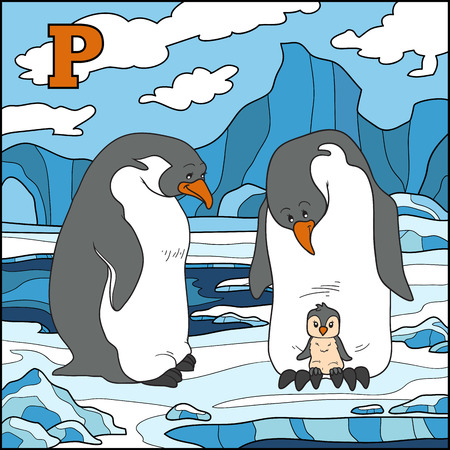 Color alphabet for children: letter P (penguin) Vector