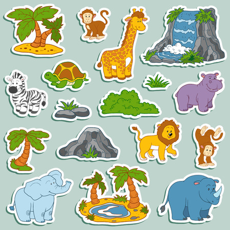 Set of various cute animals, vector stickers of safari animals Illustration