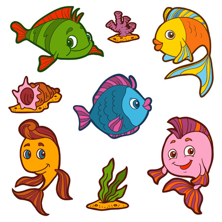rainbow fish: Set of cute fish and natural sites, vector stickers Illustration