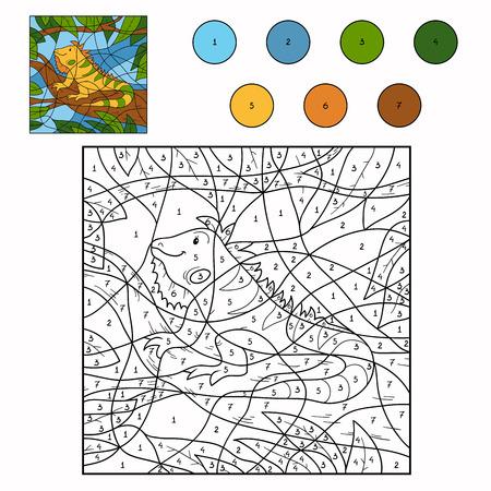 coloration: Color by number (iguana) Illustration