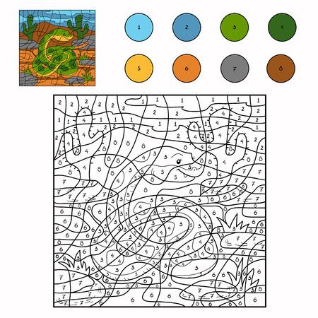 forked tongue: Color by number (snake) Illustration