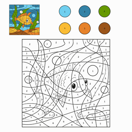 number cartoon: Color by number (fish)
