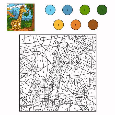 Color by number (giraffe) Ilustração