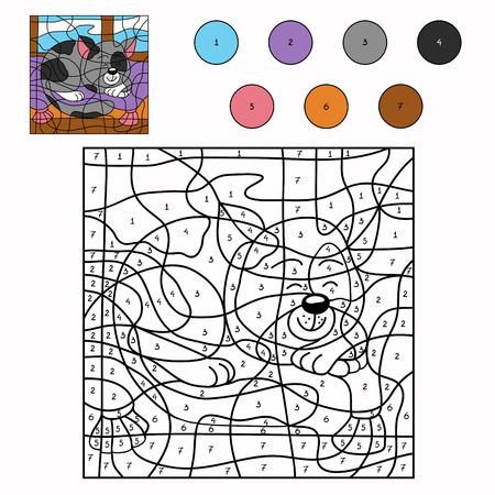 numeros: Color por el número (gato soñoliento)
