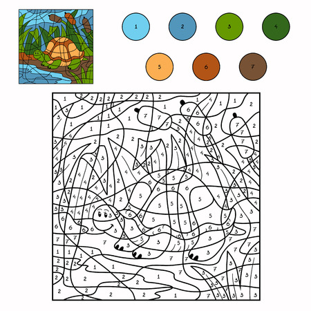 nombres: Couleur par num�ro (tortue) Illustration