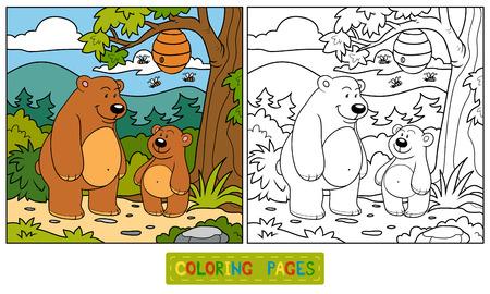 Coloring book (bears) Vector