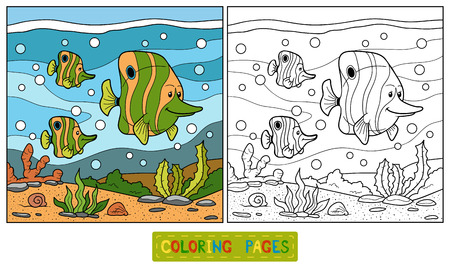 coloration: Coloring book (fish family)