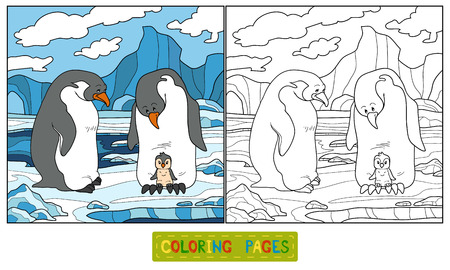 Coloring book (penguin) Vector