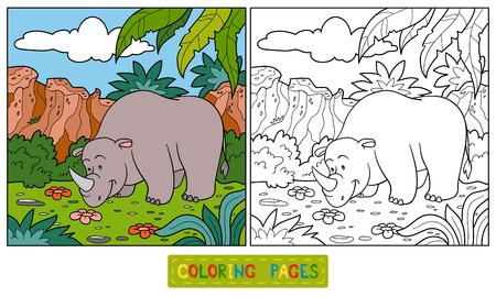 Coloring book (rhino) Ilustração