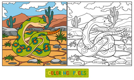 Coloring book (snake) Vector