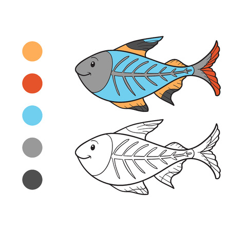 Coloring book (x-ray fish) Vector
