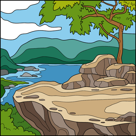 overlooking: Vector illustration, natural background (cliff overlooking the sea)