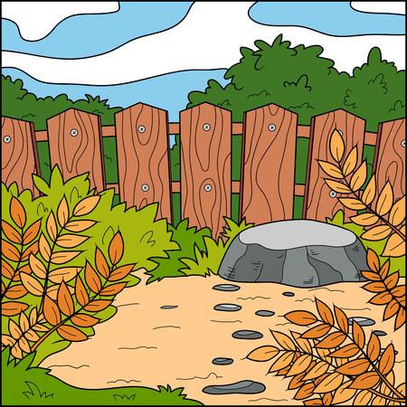 fondo natural: Ilustraci�n del vector, fondo natural (patio trasero y valla) Vectores