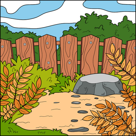 stockade: Vector illustration, natural background (backyard and fence)