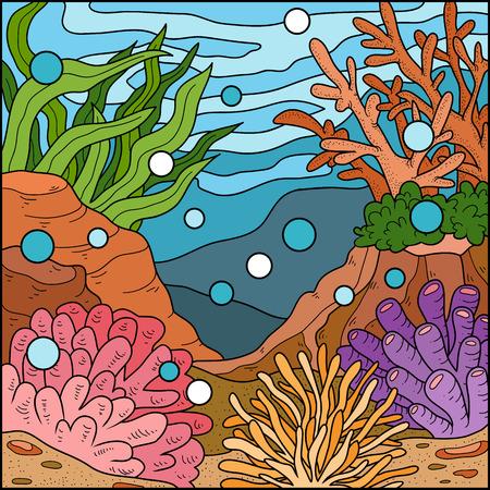 deep pink: Vector illustration, ocean background (coral reef)