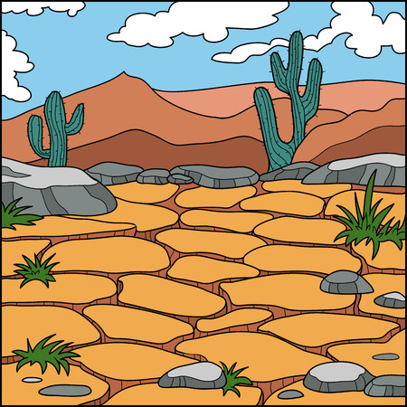 dry land: Vector illustration, natural background (dry desert) Illustration