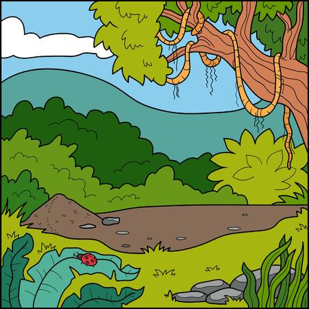 anthill: Vector illustration, natural background (tropical forest) Illustration