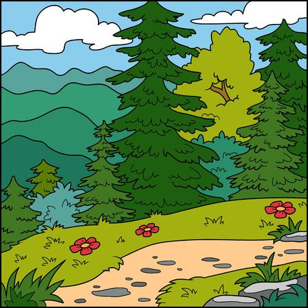 fondo natural: Ilustraci�n del vector, fondo natural (bosque)